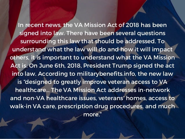 The VA Mission Act: What It Means for Veterans | Michael G. Sheppard  Slide 2