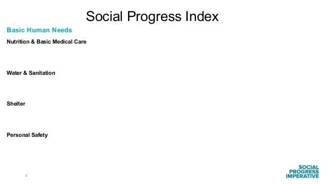 4 Social Progress Index Basic Human Needs Nutrition & Basic Medical Care Water & Sanitation Shelter Personal Safety