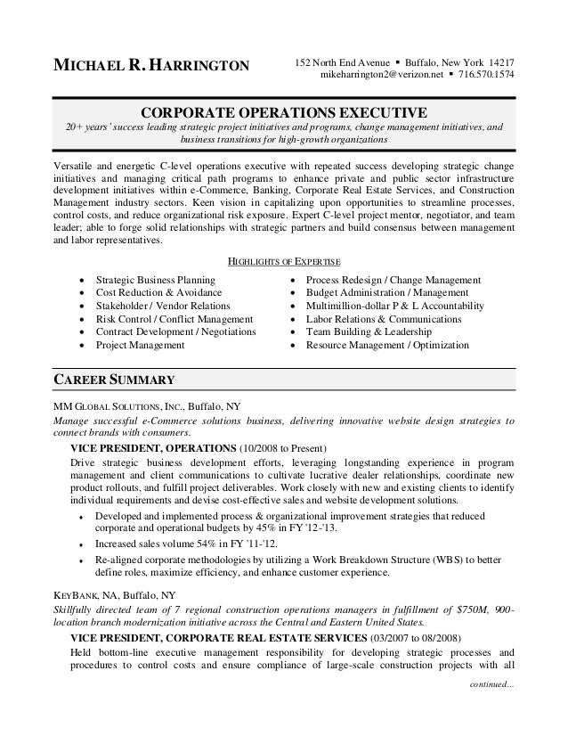 Michael Harrington - Corporate Operations Resume