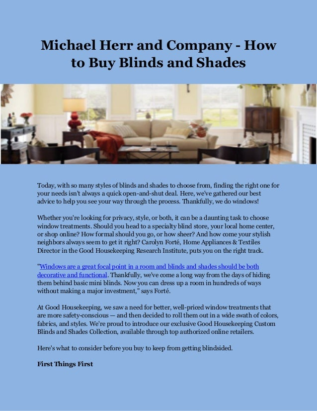 How To Buy Blinds.Michael Herr And Company How To Buy Blinds And Shades