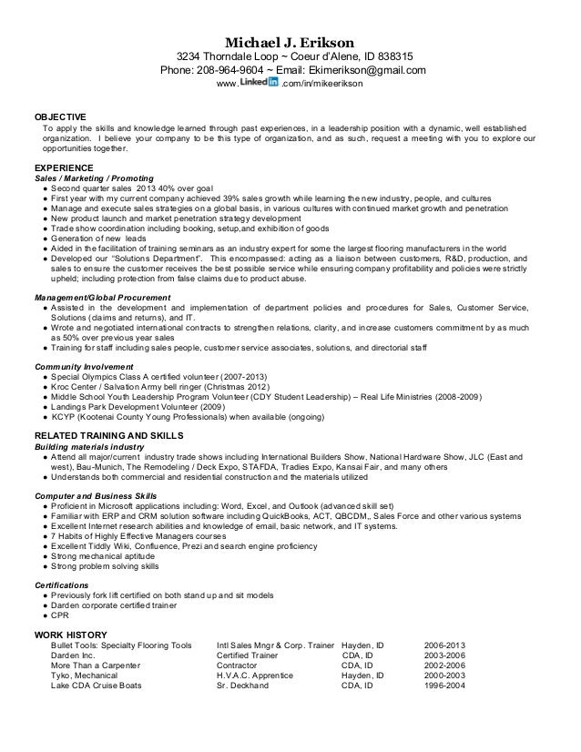 Resume for Mike J Erikson International Sales Distribution exper