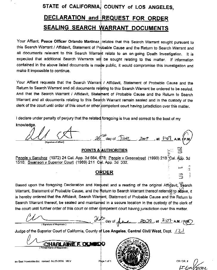 Michael Jackson Search Warrant