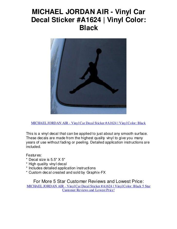 MICHAEL JORDAN AIR - Vinyl Car   Decal Sticker #A1624 | Vinyl Color:                  Black   MICHAEL JORDAN AIR - Vinyl C...