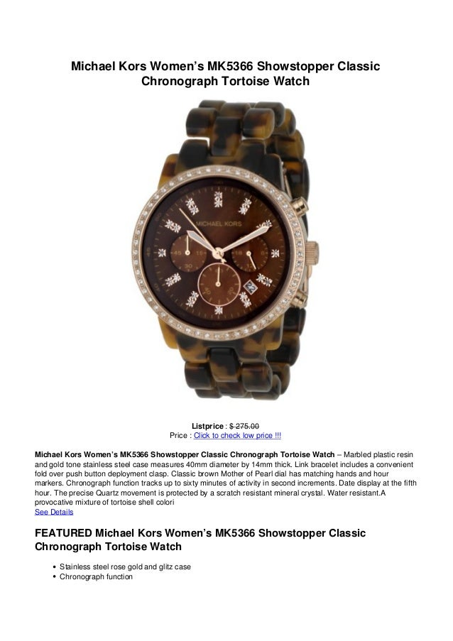 a9b587ab3f20 Michael kors womens mk5366 showstopper classic chronograph tortoise watch