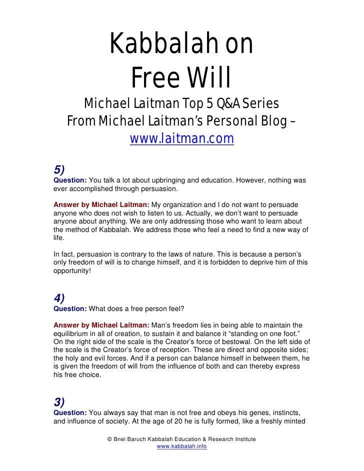 Michael Laitman Kabbalah On Free Will