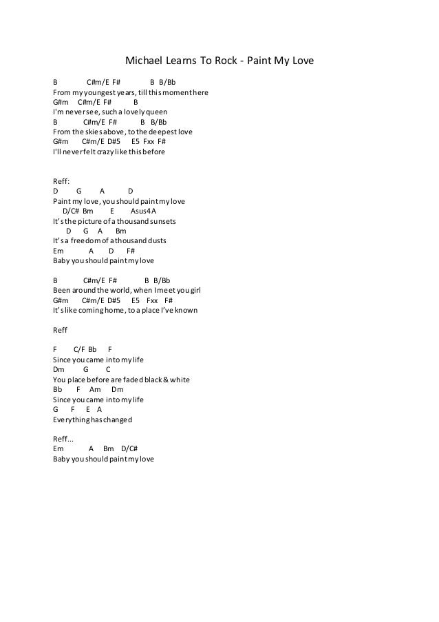 Michael Learns To Rock Paint My Love Guitar Chords Bradva Docefo