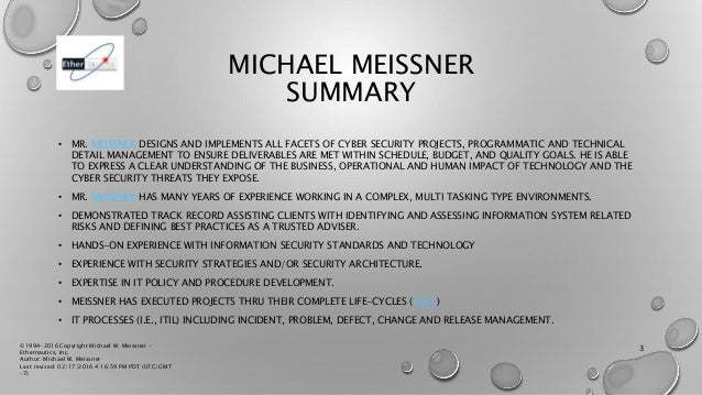 Michael W. Meissner - Cyber Security Engineering Biography