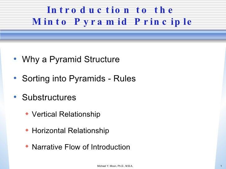 Introduction to the  Minto Pyramid Principle <ul><li>Why a Pyramid Structure </li></ul><ul><li>Sorting into Pyramids - Rul...