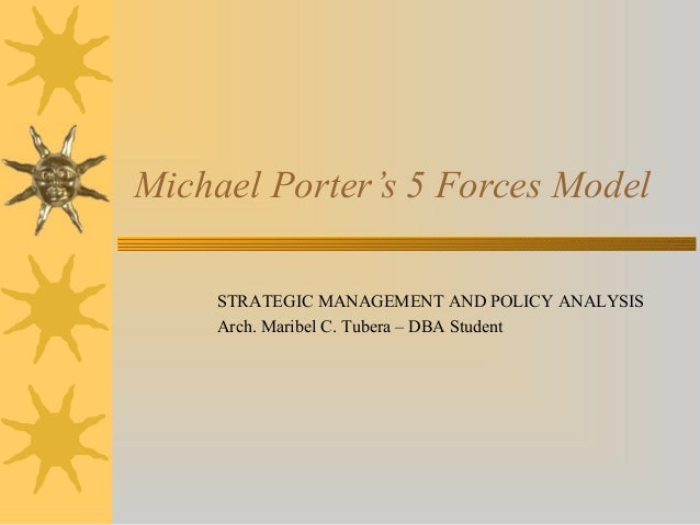 Michael Porter's 5 Forces Model STRATEGIC MANAGEMENT AND POLICY ANALYSIS Arch. Maribel C. Tubera – DBA Student