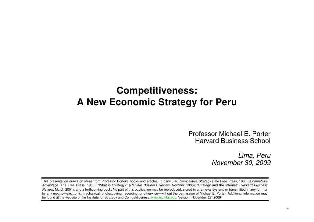 Competitiveness:                                     A New Economic Strategy for Peru                                     ...