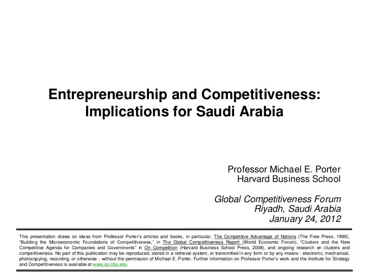 Entrepreneurship and Competitiveness:                                Implications for Saudi Arabia                        ...