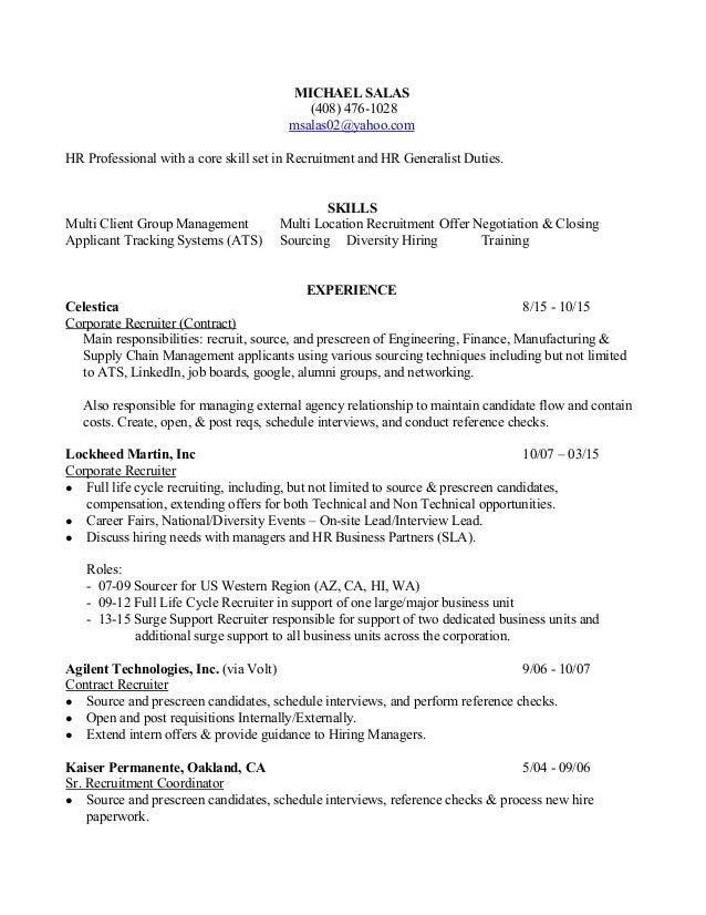 michael salas recruiter resume 2015 michael salas 408 4761028 msalas02yahoocom hr professional with a. Resume Example. Resume CV Cover Letter