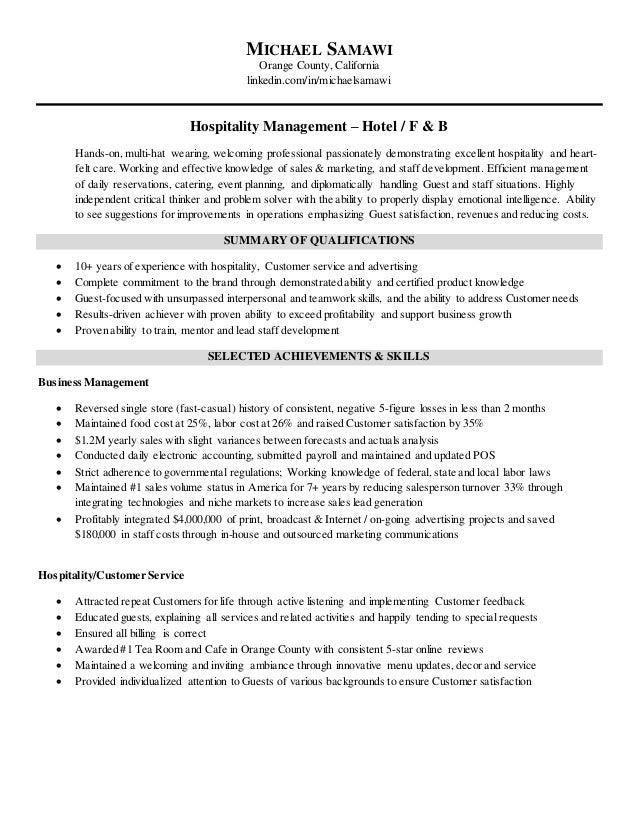 MICHAEL SAMAWI Orange County, California Linkedin.com/in/michaelsamawi Hospitality  Management U2013 Michael Samawi Resume ...  Hospitality Management Resume