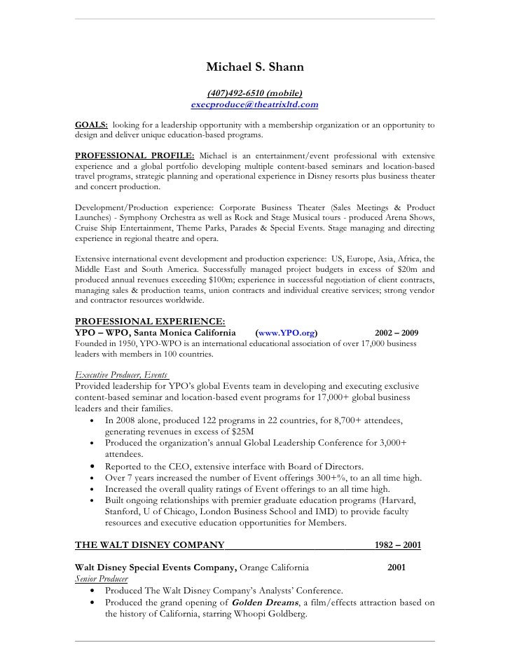 Resume Walt Disney Resume Disney College Program Resume Jaime Krzos Project  Manager Homer 01 Jpg