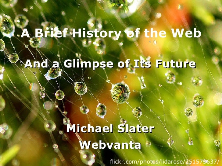 A Brief History of the Web And a Glimpse of Its Future Michael Slater Webvanta flickr.com/photos/lidarose/251573637/