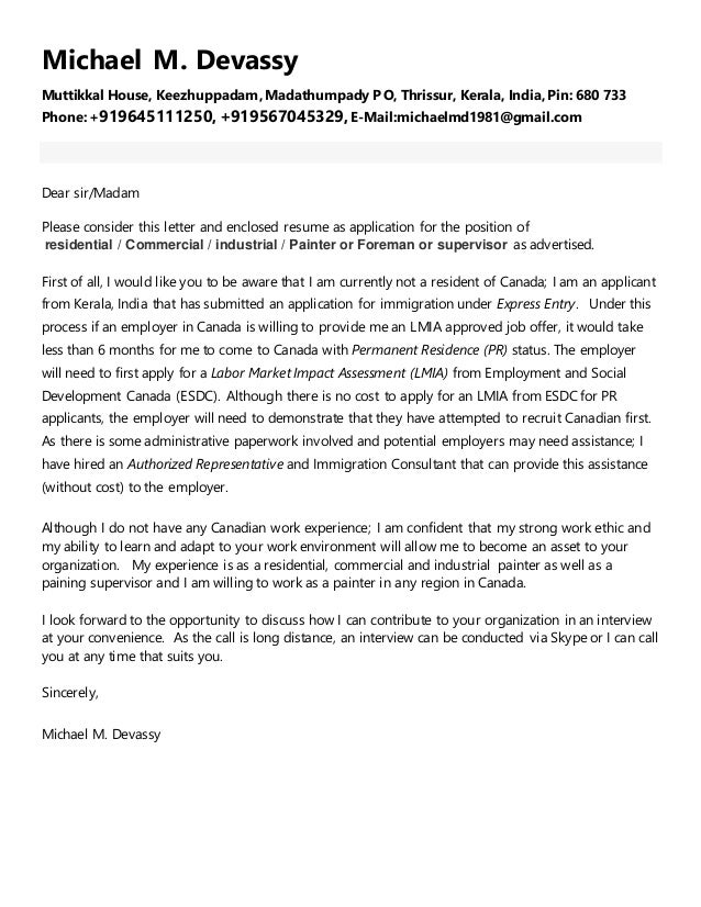 Michaels painter resume for canada