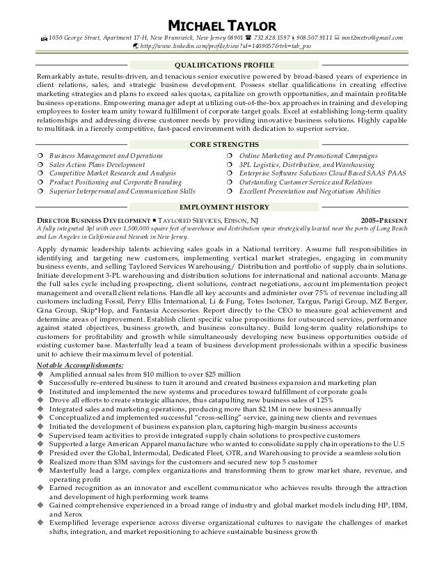 michael resume sales business development account
