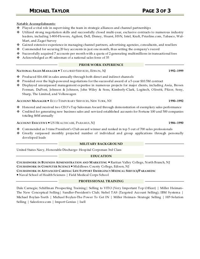 sales management resume examples