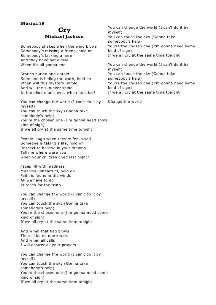 Lyric if i can help somebody lyrics : Michal Jackson Lyrics Book I