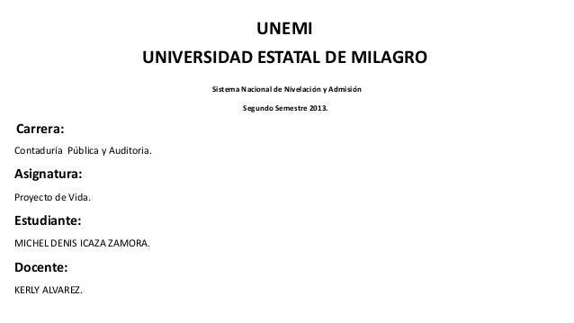 UNEMI UNIVERSIDAD ESTATAL DE MILAGRO Sistema Nacional de Nivelación y Admisión Segundo Semestre 2013. Carrera: Contaduría ...