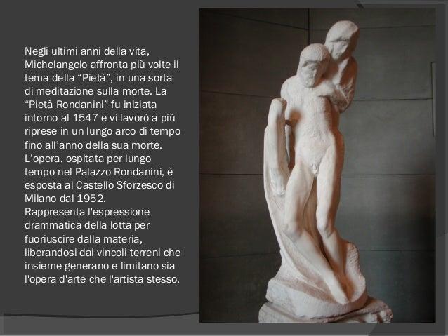 """Negli ultimi anni della vita, Michelangelo affronta più volte il tema della """"Pietà"""", in una sorta di meditazione sulla mor..."""