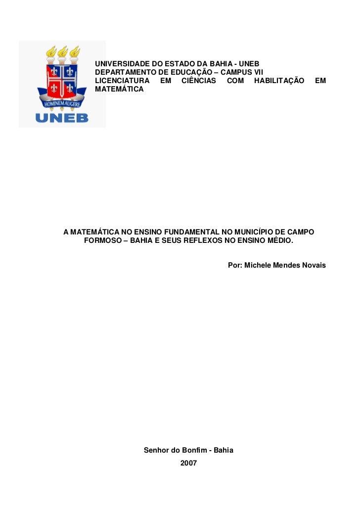 UNIVERSIDADE DO ESTADO DA BAHIA - UNEB       DEPARTAMENTO DE EDUCAÇÃO – CAMPUS VII       LICENCIATURA EM CIÊNCIAS COM HABI...