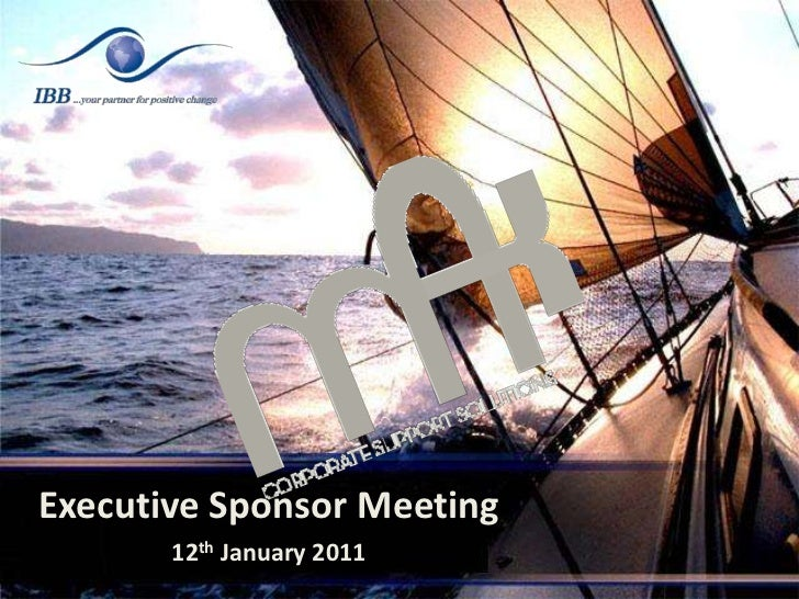 Executive Sponsor Meeting<br />12th January 2011<br />