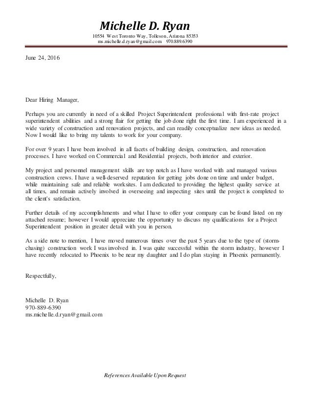 michelle ryan resume construction superintendent