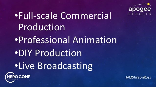 @MStinsonRoss •Full-scale Commercial Production •Professional Animation •DIY Production •Live Broadcasting