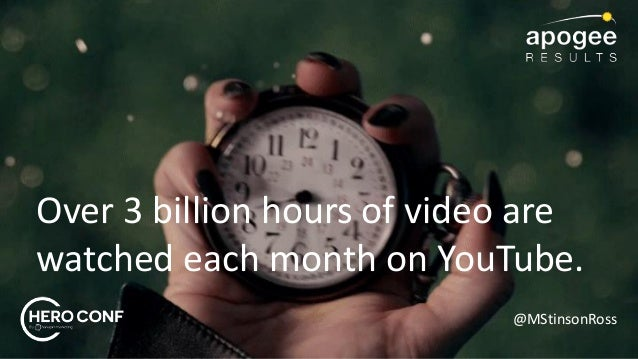 @MStinsonRoss Over 3 billion hours of video are watched each month on YouTube.