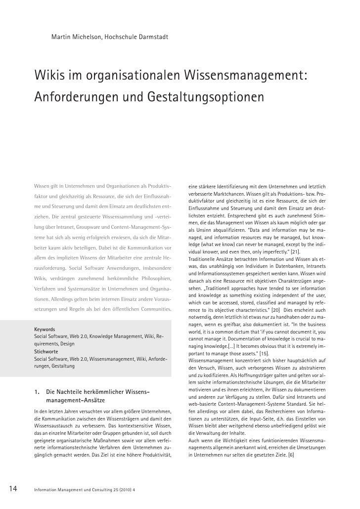 Martin Michelson, Hochschule Darmstadt          Wikis im organisationalen Wissensmanagement:      Anforderungen und Gestal...