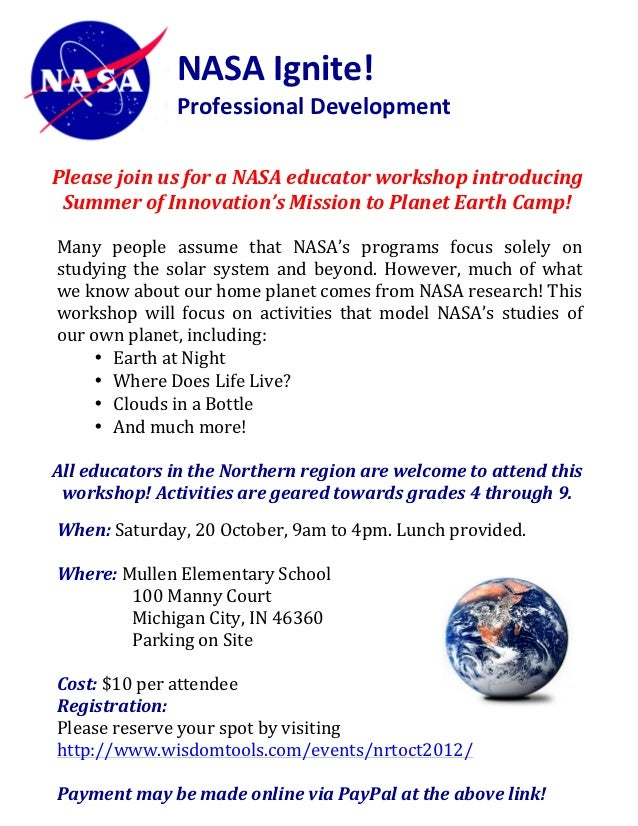 NASA	  Ignite!	  	                                Professional	  Development	  	  	                                	      ...