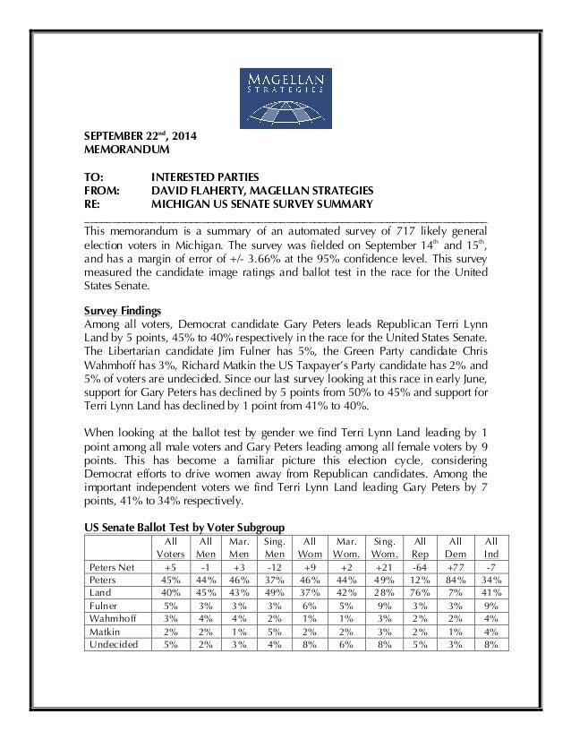 !  SEPTEMBER 22nd, 2014  MEMORANDUM  TO: INTERESTED PARTIES  FROM: DAVID FLAHERTY, MAGELLAN STRATEGIES  RE: MICHIGAN US SE...