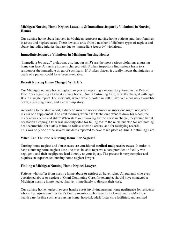 Michigan Nursing Home Neglect Lawsuits & Immediate Jeopardy Violations in NursingHomesOur nursing home abuse lawyers in Mi...