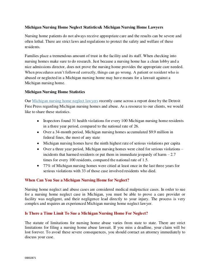 Michigan Nursing Home Neglect Statistics& Michigan Nursing Home LawyersNursing home patients do not always receive appropr...