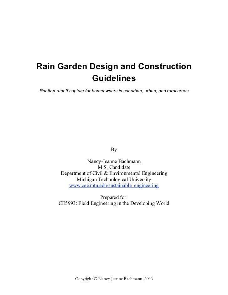 MI: Michigan Technological University: Rain Garden Design ... on coastal garden design, urban garden design, rural garden design, rain garden design,