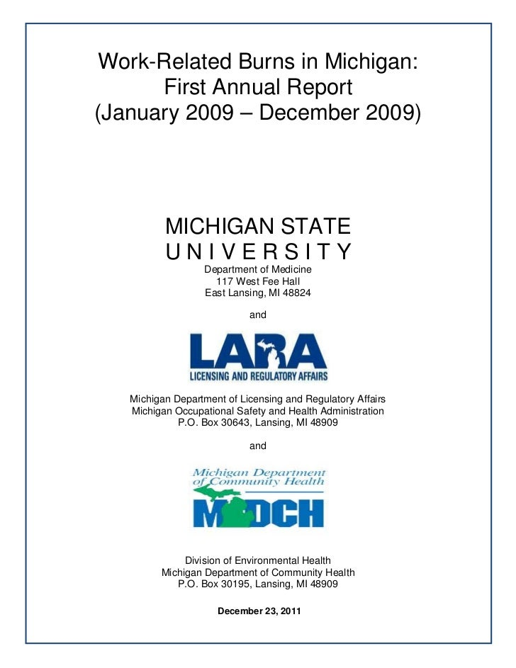 Work-Related Burns in Michigan:              First Annual Report        (January 2009 – December 2009)          ...