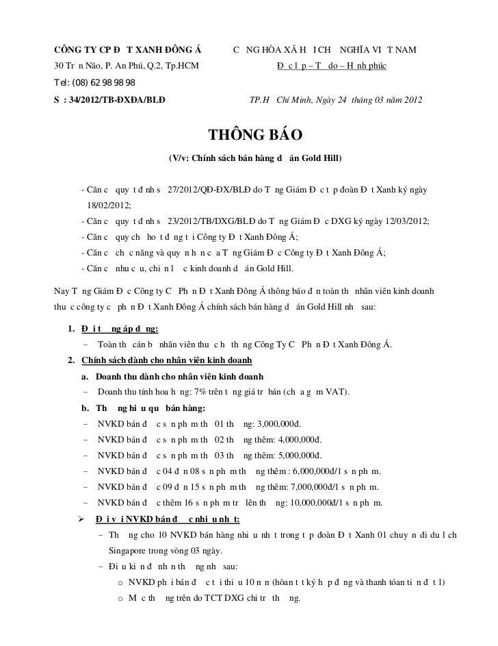 CÔNG TY CP ĐẤT XANH ĐÔNG Á                     CỘNG HÒA XÃ HỘI CHỦ NGHĨA VIỆT NAM30 Trần Não, P. An Phú, Q.2, Tp.HCM      ...