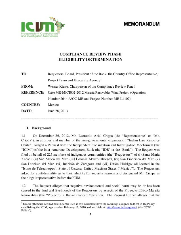 1 MEMORANDUM COMPLIANCE REVIEW PHASE ELIGIBILITY DETERMINATION TO: Requesters, Board, President of the Bank, the Country O...