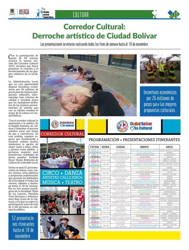 15CIUDAD BOLÍVAR Una oportunidad para construir con sentido humano GOBIERNO, SEGURIDAD Y CONVIVENCIA Periódico Institucion...