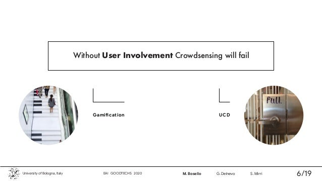UCD Without User Involvement Crowdsensing will fail University of Bologna, Italy EAI GOODTECHS 2020 M. Bosello G. Delnevo ...