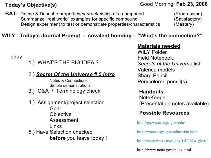 Good Morning:  Feb 23, 2006   BAT:   Define & Describe properties/ character istics of a compound (Progressing) Summarize ...
