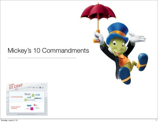 Mickey's 10 Commandments1Sunday, June 2, 13