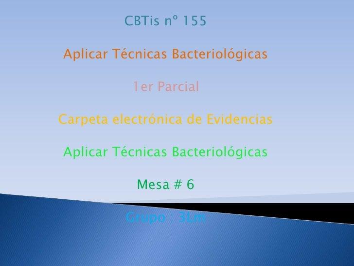 CBTis nº 155<br />Aplicar Técnicas Bacteriológicas<br />1er Parcial<br />Carpeta electrónica de Evidencias<br />Aplicar Té...