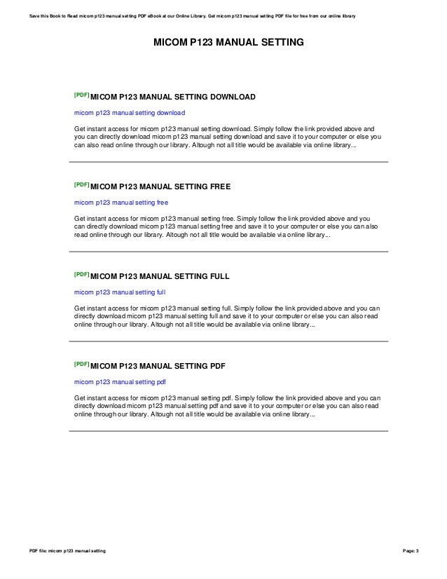 micom p123 manual setting rh slideshare net  Fu Ping Settings