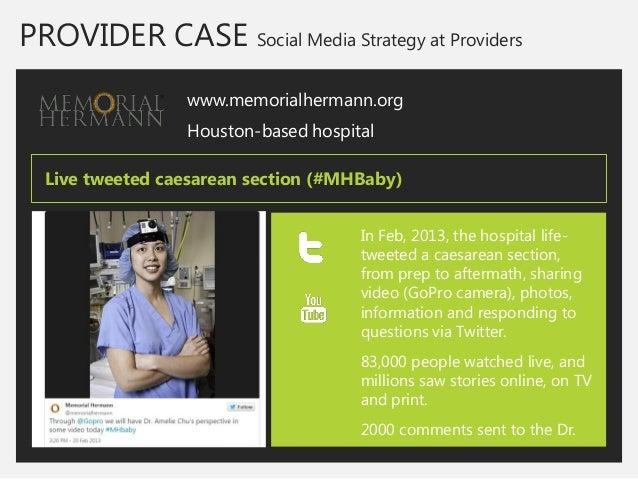 PROVIDER CASE Social Media Strategy at Providers  www.memorialhermann.org  Houston-based hospital  In Feb, 2013, the hospi...