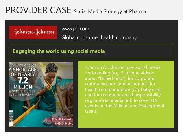 PROVIDER CASE Social Media Strategy at Pharma  www.jnj.com  Global consumer health company  Johnson & Johnson uses social ...