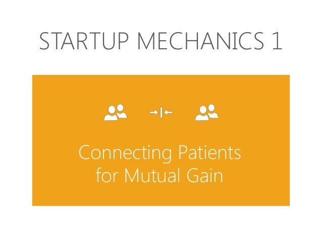 STARTUP MECHANICS 1  Connecting Patients for Mutual Gain