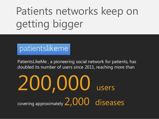 PatientsLikeMe , a pioneering social network for patients, has doubled its number of users since 2011, reaching more than ...