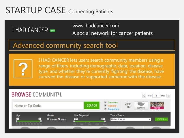 www.ihadcancer.com  A social network for cancer patients  I HAD CANCER lets users search community members using a range o...